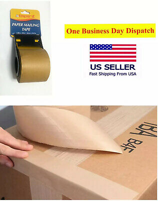 1- Rolls 48mm X 10.98 Ft Reinforced Kraft Gummed Paper Tape Brown With Dispenser