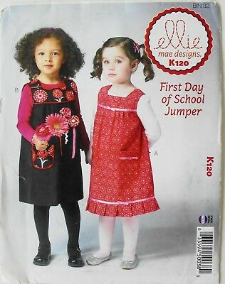 Ellie Mae K120 Girls Toddlers First Day Of School Jumpers Sewing Pattern - First Day Of School Girl