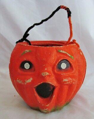1950s Vintage 5in Halloween Decoration Pulp Paper Mache Jack o Lantern Pumpkin