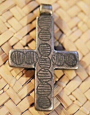 Tribal Amulet Large Cross Pendant Ethnic Rustic Necklace Earring Set