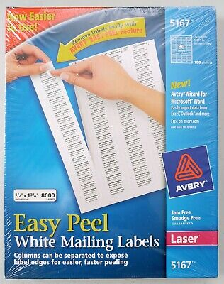 Avery Easy Peel White Addressmailing Labels 5167 - .5in X 1.75in. 8000ct.