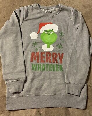 """Universal Girls Ugly Christmas Sweater Grinch """"Merry Whatever"""" Size XL"""