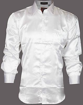 DESIGNER Mens BUTTON DOWN Shirt SATIN Silk Like WHITE Dress Work Express $68
