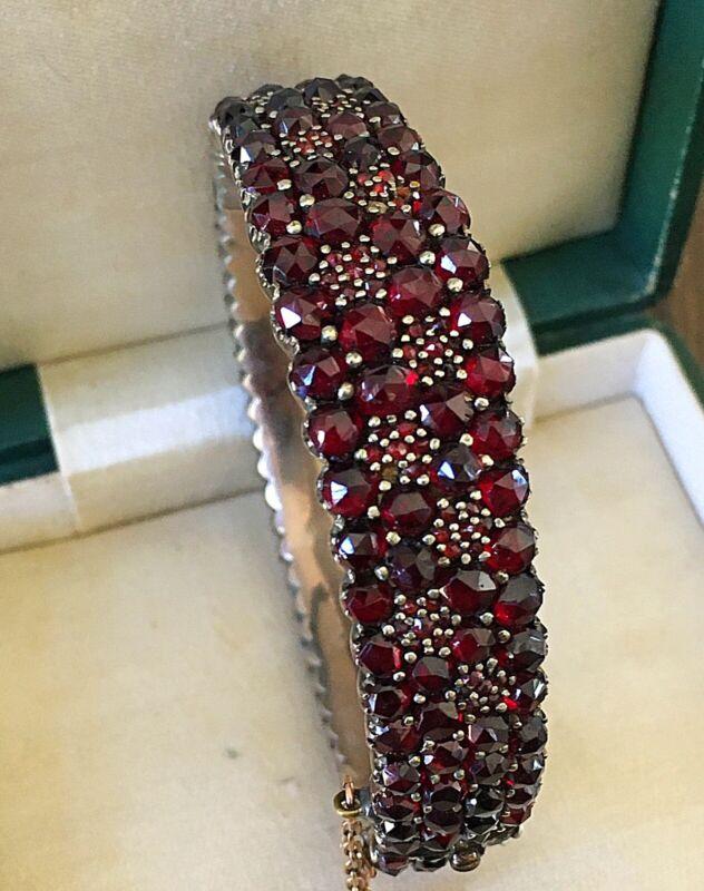 Antique Estate Victorian Bohemian Garnet Silver Bangle Bracelet ~ Stunning