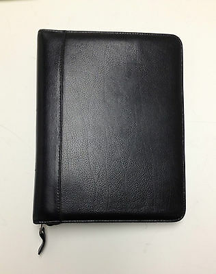 Franklin Covey Classic Leather Black Zip Around Planner w/ Pockets Pen Holder