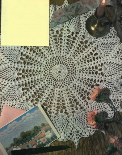 "MEDIUM PINEAPPLE DOILY 17 1/2"" DIAMETER HOME DECOR CROCHET PATTERN INSTRUCTIONS"