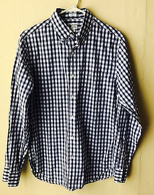 Mens J CREW Shirt S Long Sleeves Check Blue White, Faint Red Stripe Button Front