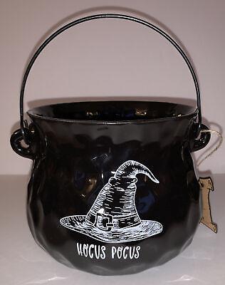"HOCUS POCUS 5.5"" X 7"" Black Cauldron Ceramic Candy Bowl By 10 Strawberry St /NWT"