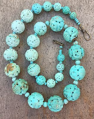 Antique Carved Chinese Turquoise Shou Beads Graduated Necklace 25