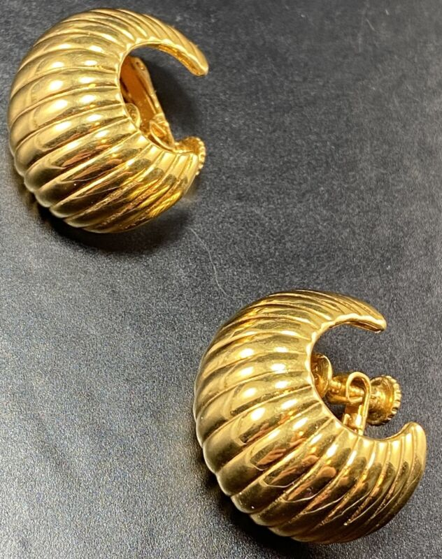 "VENDOME  Signed Vintage Screw Back Clip  Earrings 1"" Gold Tone Hoops"