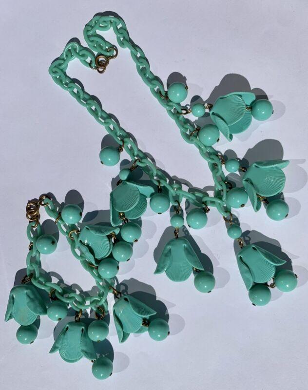 Vintage 1930's Celluloid Flowers Necklace Bracelet Set Original Condition
