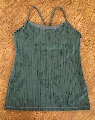 Lululemon Power Y Tank sz 8, olive green mesh trim active workout yoga tank top