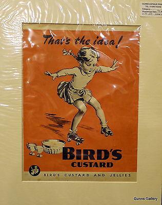Original Vintage Advertisement mounted ready to frame Birds Custard 1946 skates