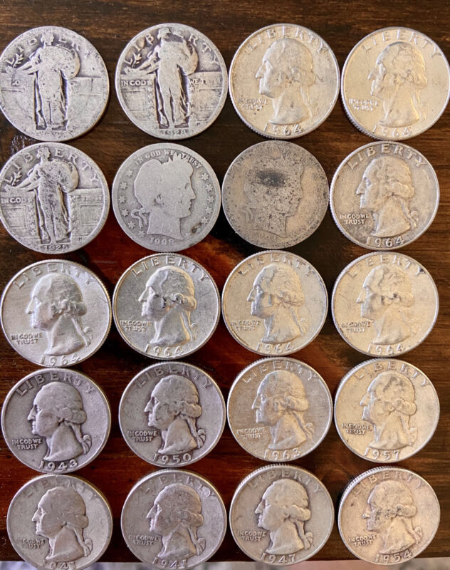 $5 Face Value Silver Quarters! Barber, SLQ, Washington