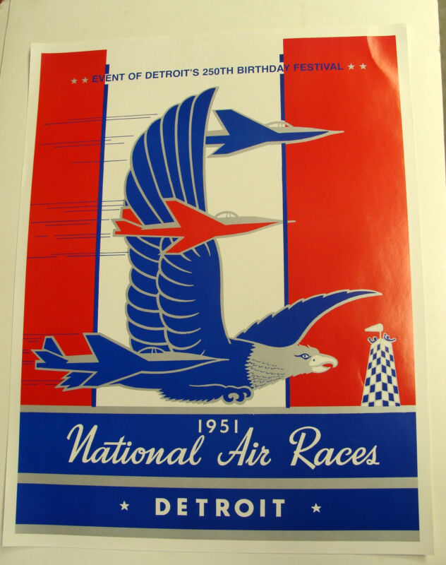 1951 NATIONAL AIR RACES POSTER DETRIOT MICHIGAN