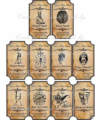 Halloween Magic steampunk label glossy stickers set of 10 scrapbooking crafts