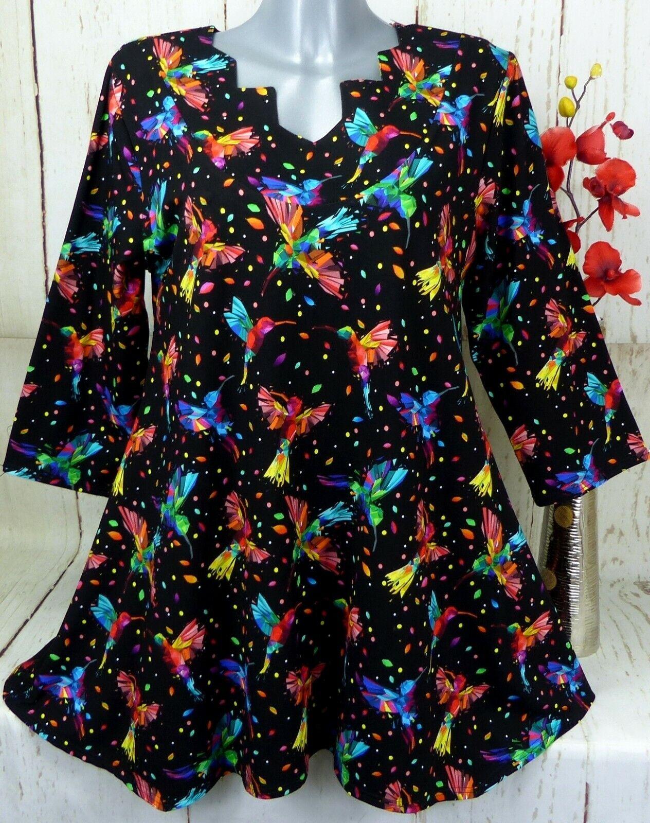 New Jersey Tunika Bluse Kleid Top Shirt Lagenlook A-Linie Schwarz Bunt XXL 46 48