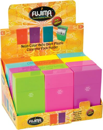 12 Hot Neon Color Push Open Plastic Cigarette Case Pack Holder 100mm