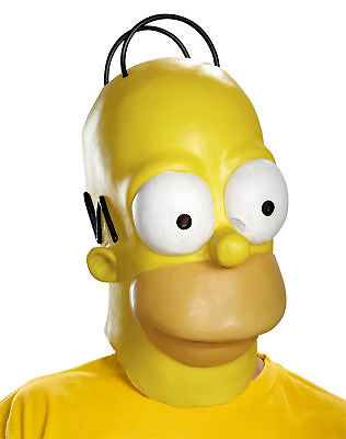 Homer Simpson Adult Mask Vinyl The Simpsons Disguise TV Character Halloween