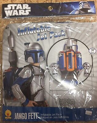 Star Wars JANGO FETT Boys Costume sz MED 8-10 Mask Jet Pack~ In Time 4 Halloween