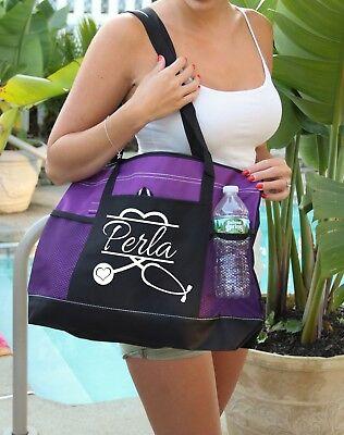 Nurse Tote Bag (Nurse Stethoscope Heart Bag personalized  Heavy tote bag, zippered, Heavy)