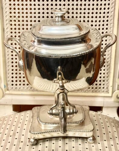 Antique Sheffield silver on copper kettle on stand samovar Georgian