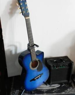 ¾ Guitar electric acoustic with Stand & Amp