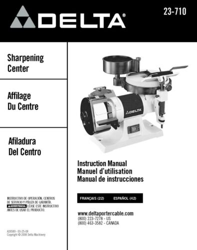 Delta 23-710 Sharpening Center Instruction Manual