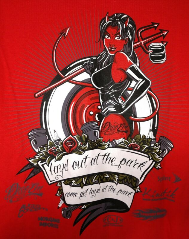 Layd Out At The Park Car and Truck Show Graphic Staff T Shirt 2011 Red XL