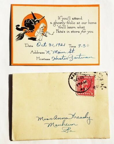 Vintage 1921 HALLOWEEN Party Invitation Card WITCH  MANHEIM, PA 1920s Zartman