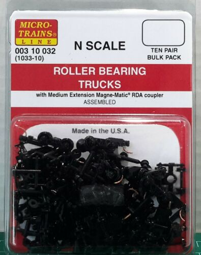 N Scale Micro Trains Roller Bearing Trucks TEN Pair Item #00310032 (1033-10)