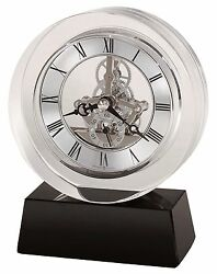 HOWARD MILLER   MANTEL CLOCK  -FUSION 645-758 OPTICAL CRYSTAL TABLE CLOCK