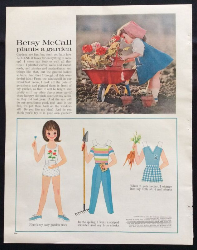 Vintage Betsy McCall Mag. PaperDoll, Betsy McCall Plants a Garden, May 1962