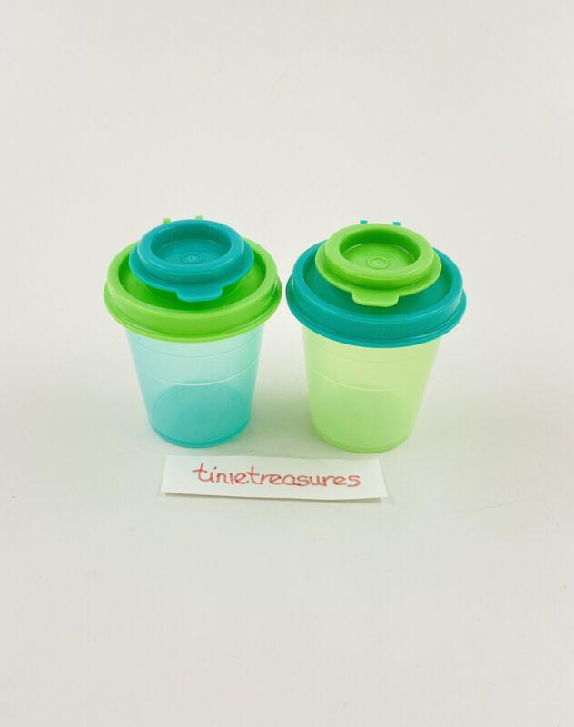 Tupperware Salt & Pepper Shaker Set Bi-colored Mini 2 Oz Each Green Neon New