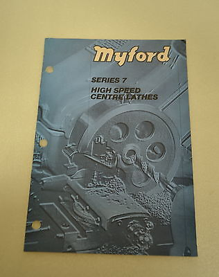 Myford Series 7 High Speed Center Lathe Catalog Brochure No. 757 Jrw 008