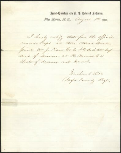 1865 4th U. S. Colored Infantry Verification of Death Document