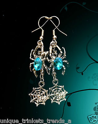 TURQUOISE BLUE ZIRCON CRYSTAL SPIDER WEB DANGLE SILVER EARRINGS~HALLOWEEN GIFT ()