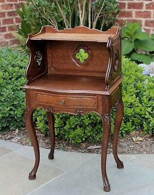 Antique French Country Oak 2-Tier End Table Nightstand Table Drawer Quatrefoils