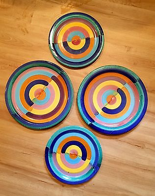 Retro Plates Bitossi Era Vintage Marked T 13 B 14 Italy Watercolor Hand painted