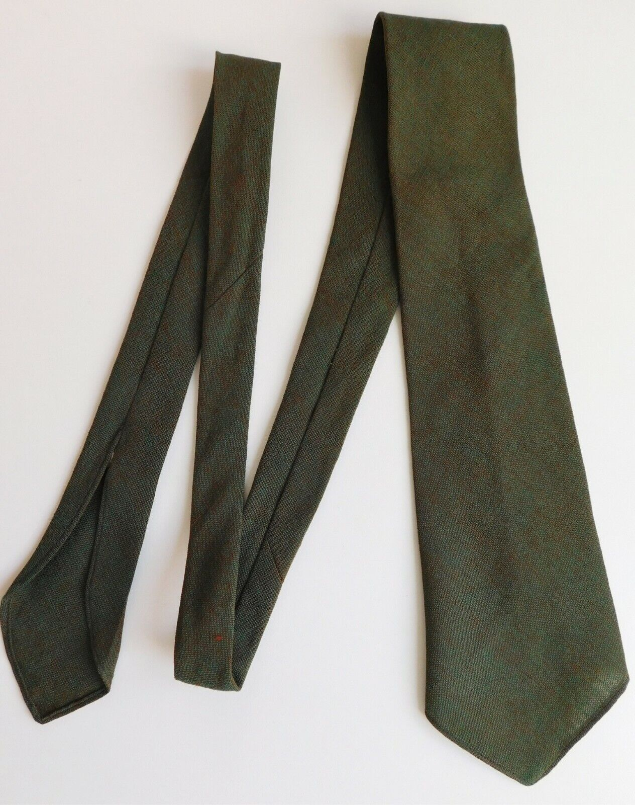 Freemantle vintage green wool tie English made Very good condition 1950s 1960s