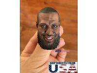 """1//6 LeBron James Head Sculpt NBA For 12/"""" Enterbay Hot Toys PHICEN TBL Figure USA"""