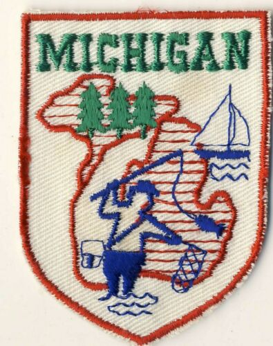 "MI Michigan Sportsmen Outdoors Fishing Sailing Tourist Souvenir 2.75"" Patch"