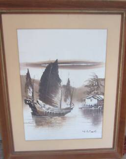 Beautiful vintage retro oriental ship pacific island oil painting Prospect Prospect Area Preview