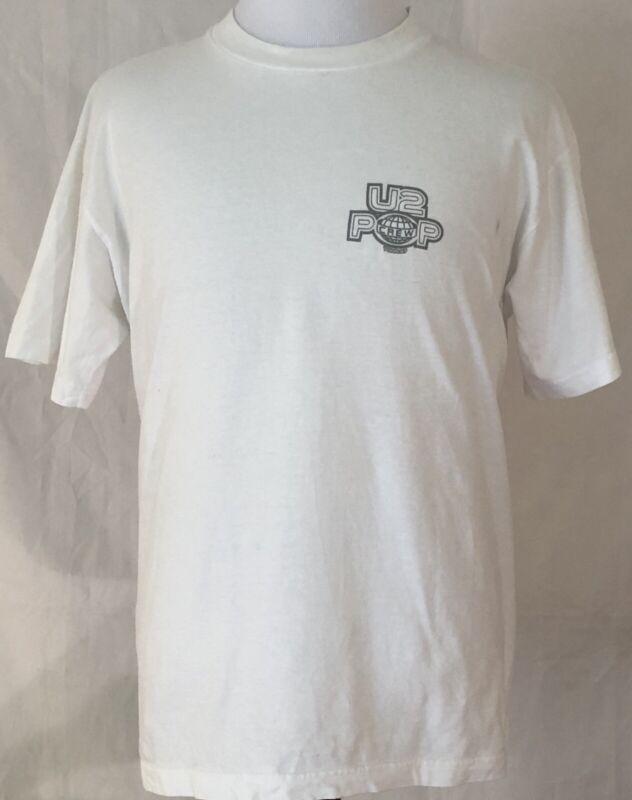 U2 1997 PopMart Tour Crew Shirt Size Large White