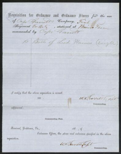 Confederate Requisition for Ordnance – W. R. Garrett (Art., Part. Rangers, Cav.)