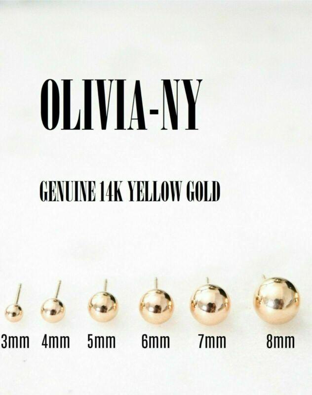 14K Yellow Gold High Polish Ball Stud Earrings 3mm - 8mm - Top Quality