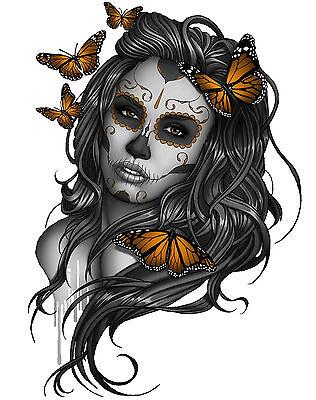 eltransfer Sugar Skull Girl  Butterfly alle Stoffe DIN A5 A4 (Sugar Skull Girl)