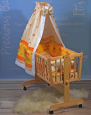 Babywiege Komplett Set BabyStubenwagen Matratze Himme-Set 5 Farben Massivholz