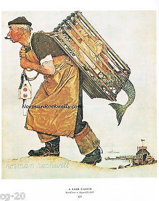 "Norman Rockwell print ""A FAIR CATCH"" Lobster Shrimp Fisherman Mermaid Fishing"