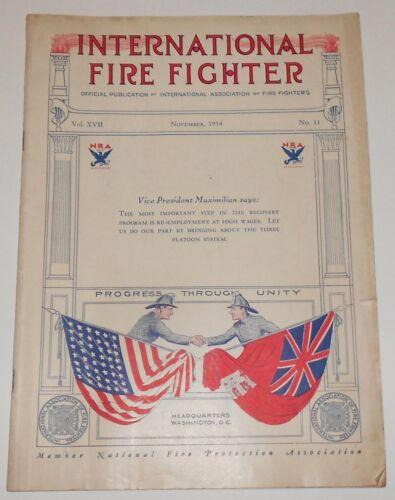 International Fire Fighter Magazine November, 1934 VINTAGE Real Photos Firemen